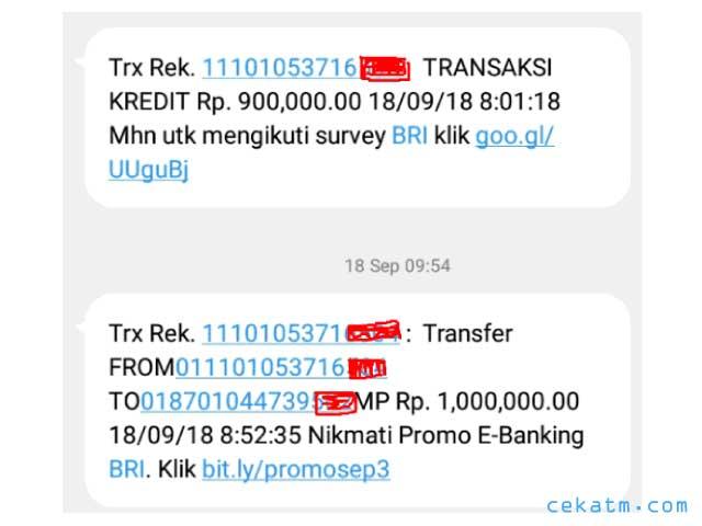 contoh sms banking bri uang masuk