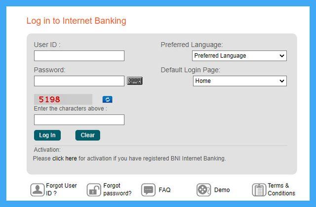 lupa user id bni internet banking